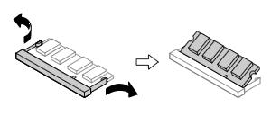 メモリーを固定しているコネクタの両端部分を左右に押し広げる。